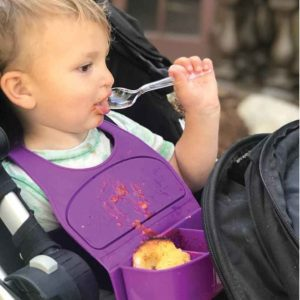 Dare-U-Go! bib holds food portions and provides anti-mess solution